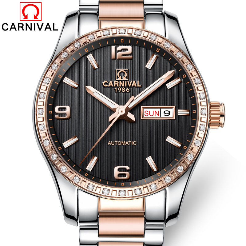 Здесь продается  Carnival Top Brand Luxury Automatic Mechanical Watch Men Diamond Rosegold Wristwatches New Business Male Clock relogio masculino  Часы