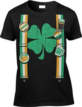 New Arrival Woman Printed T-Shirt Womens/Ladies T-shirt St Patricks Day Suspenders Hipster cool tops