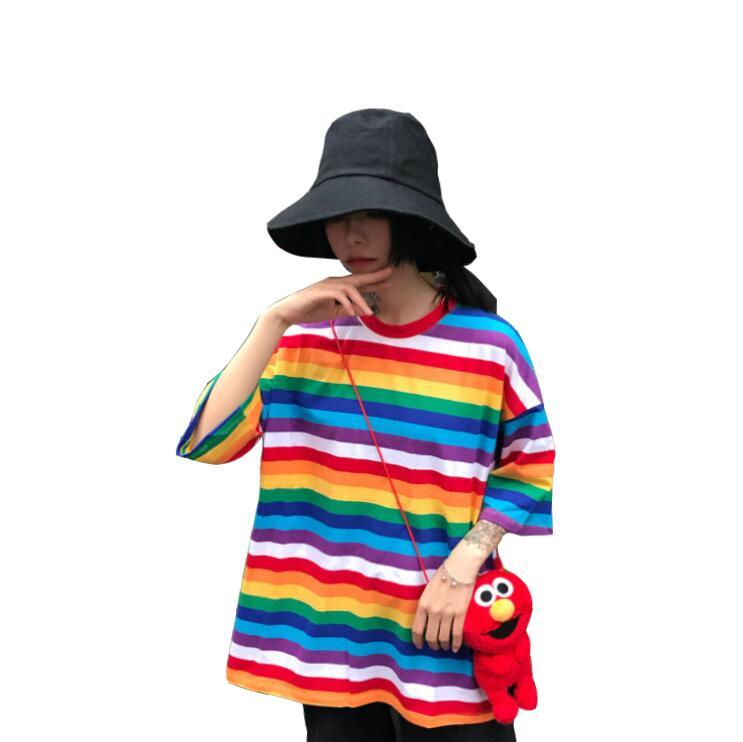 Summer Retro Rainbow Stripe Short Sleeve T-Shirt