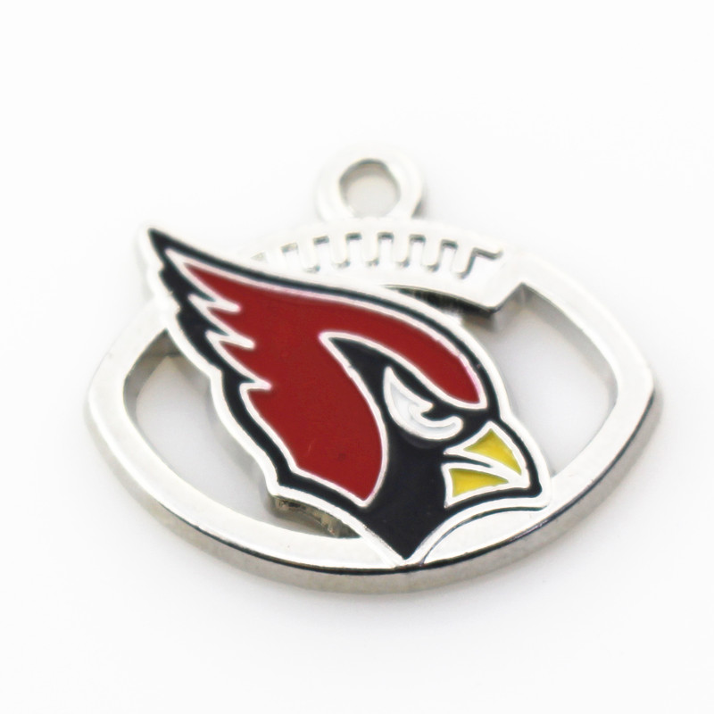 Wholesale 12pcs/lot Football Sports Arizona Cardinals Team Dangle Charms Alloy Silver Pendant Fit Necklace Braceket DIY Jewelry