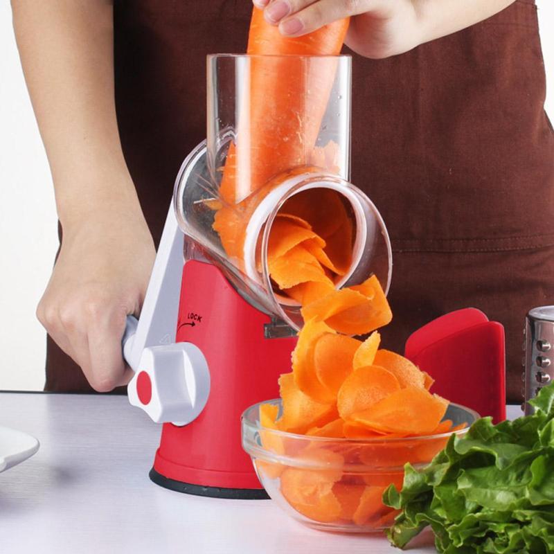 Hot Stainless Vegetable Shredder Hand Rotary Grater Shred Potato Slicer Roller Shape Stainless Steel Crank Handle A30