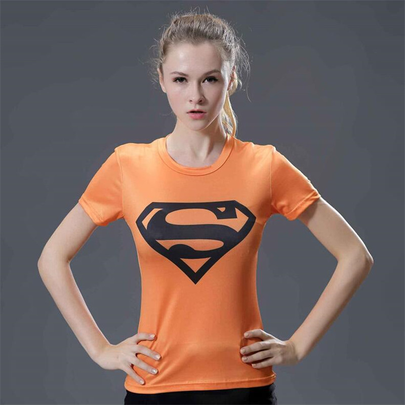 19  3d Orange Superman T Shirt Women Tops Short Sleeve O-neck Summer Top T-shirt Fitness Tight Compression Shirt Camisetas Mujer