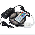 5M Waterproof RGB LED Strip Flexible SMD 5050 Led Light and IR 44 Keys Remote Controller with 12V 5A Power Adapter Supply