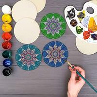 36pcs Unfinished Wooden Pieces 4 Inch Round Slices DIY Coaster Craft With Sanding Environmentally Friendly Wood Material