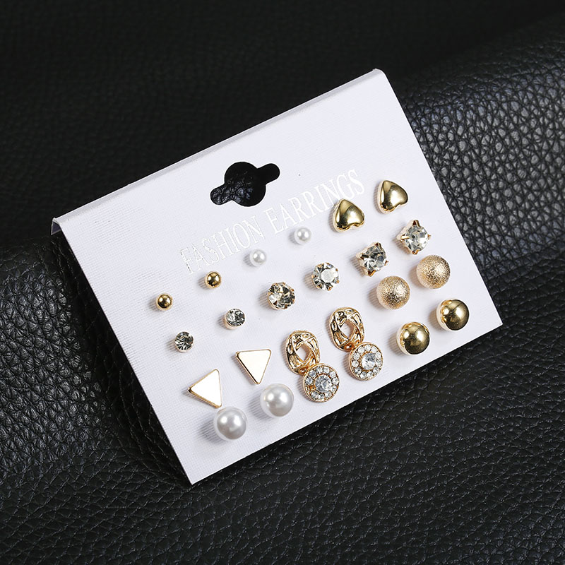 12 Pairs Sets Of Fashion Women 39 s Square Crystal Heart Shaped Earrings Ladies Perforated Simulation Pearl Flower Earrings Set G in Stud Earrings from Jewelry amp Accessories