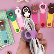 Cartoon Brown Bear Silica Gel Cable Winder Earphone Protector USB Unis