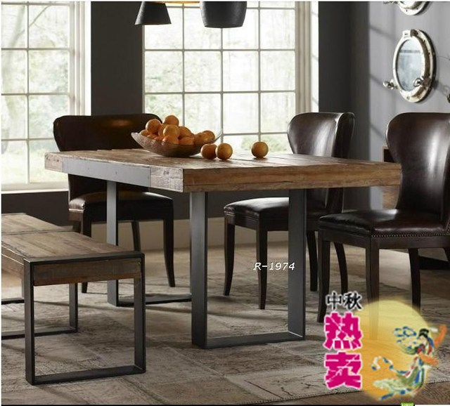 Retro American Country House Furniture , Wrought Iron Wood Computer Desk  Bench Original Nordic Style Dinette