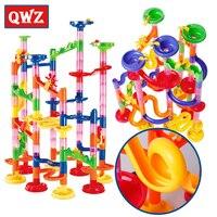 QWZ 105pcs DIY Marble Race Run Maze Balls Track Building Blocks Sets Kids Educational Construction Game