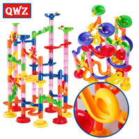 QWZ 105pcs DIY Marble Race Run Maze Balls Track Building Blocks Sets Kids Educational Construction Game