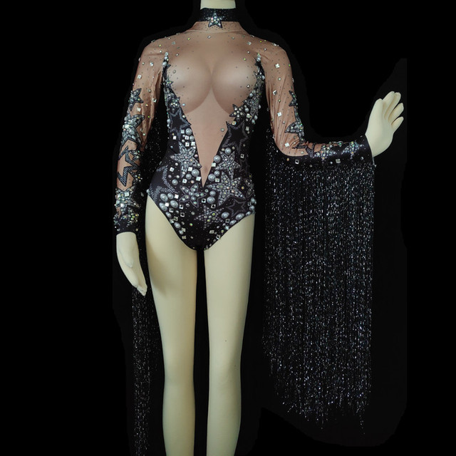 Women Stage Costumes Fashion Show Stretch Leotard Nightclub Party Pearls Costume Dance Jumpsuit Sexy Fringes Crystals Bodysuit