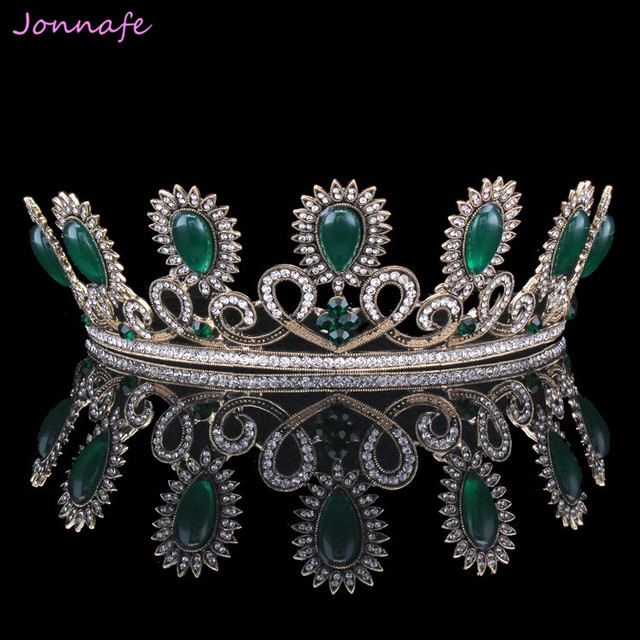 Jonnafe Baroque Green Crystal Wedding Tiara Hair Crown With Earrings Vintage Bridal Accessories Hairband Women