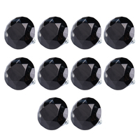 WSFS Hot Sale 10pcs Diamond Shape Crystal Glass Drawer Pull Handle Knob Black