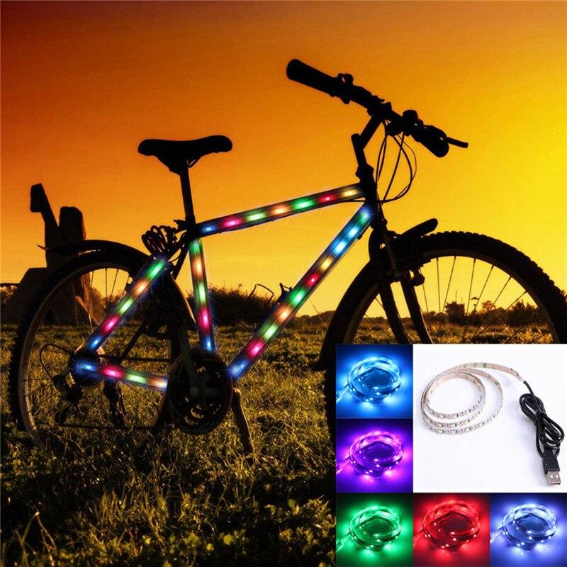 Купить с кэшбэком 1PC 50cm 1m DC 5V USB Cable LED Strip Light Lamp SMD3528 Christmas Desk Decor lamp tape For TV Background Lighting