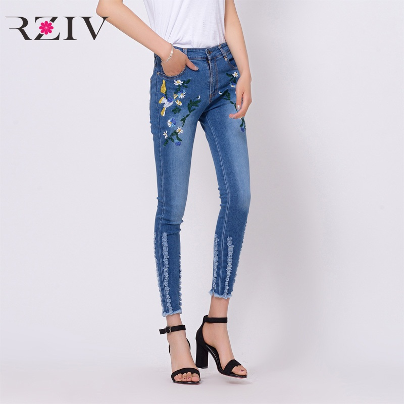 RZIV 2017 female jeans casual pure color flowers embroidered high waist jeans