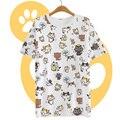 Summer harajuku camisa de la mujer t-shirt ropa japonés kawaii cat lindo blusa peplum tops neko atsume roupas casual vestidos