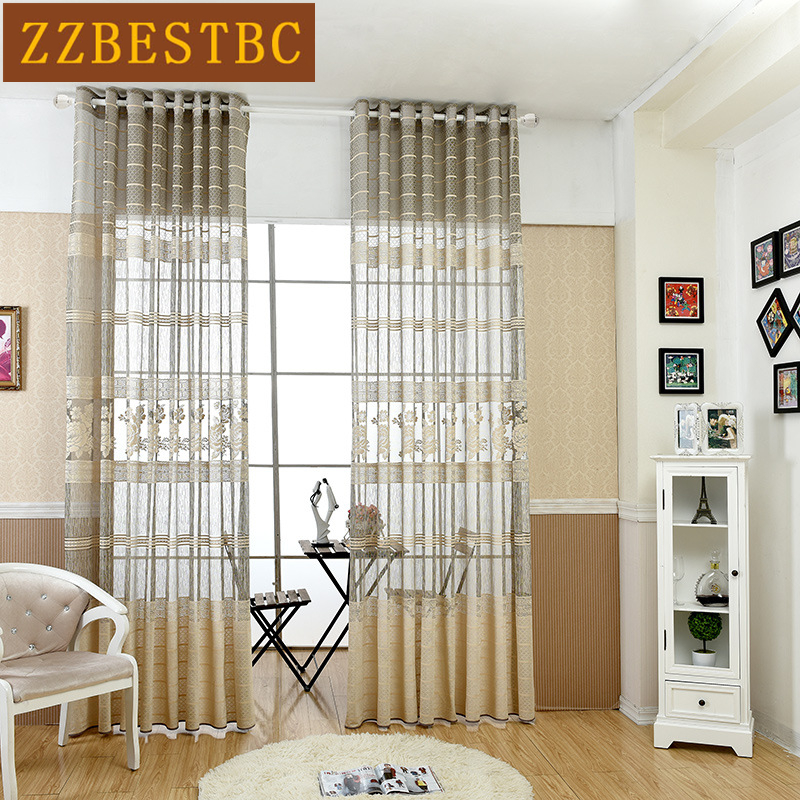 European lace jacquard Screen for living room window Tulle curtains - Home Textile
