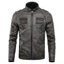 Plus size Men Jacket Embroidered Leather Pu Coats Slim Fit College Fleece Luxury Pilot Jackets Mens Stand Collar Top Jacket Coat