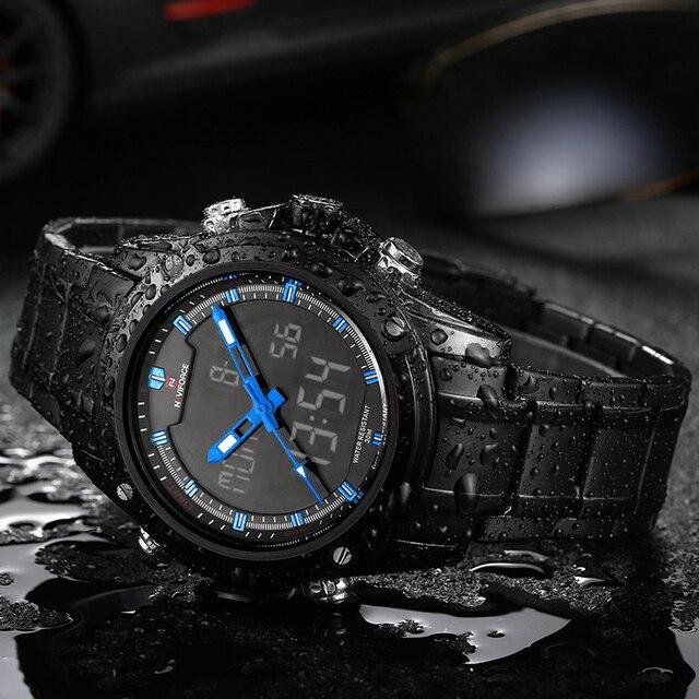 5873c15b2bd NAVIFORCE Militar Esportes Relógios Homens de Aço Inoxidável Moda de Luxo  Da Marca Analógico Digital De
