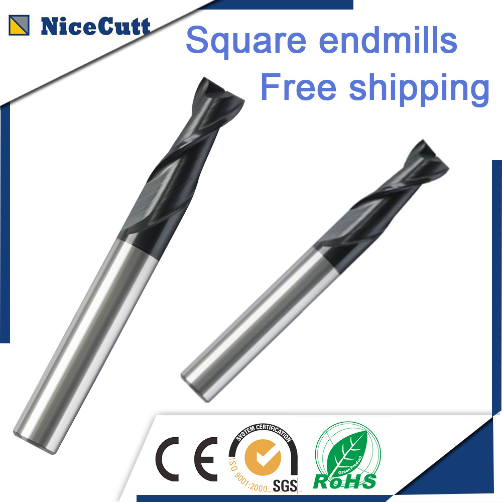 送料無料5ピース固体炭化物スクエアエンドミル2フルートフライスカッターD2-D12 AlCrSiNコーティング鋼または鋳鉄