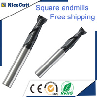 Free Shipping 5PCS Solid Carbide Square End Mill 2 Flute Milling Cutter D2 D12 AlCrSiN Coating for Steel or Cast Iron