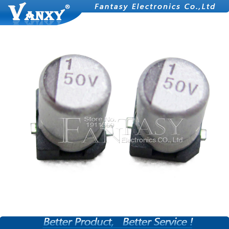 10PCS Electrolytic Capacitor 50V1UF 4*5.5mm SMD Aluminum Electrolytic Capacitor 1uf 50v