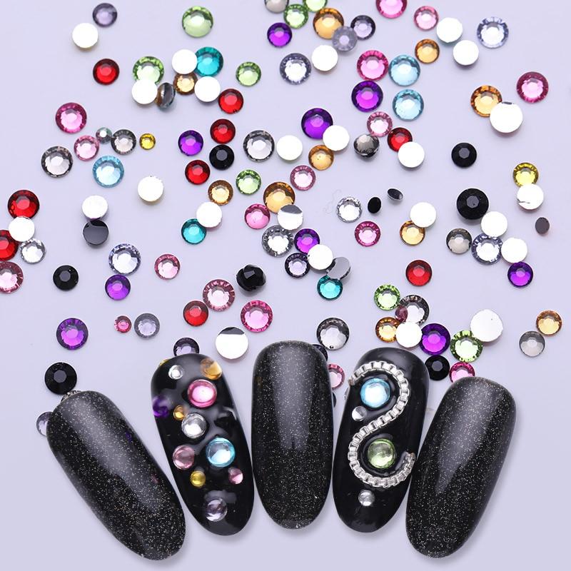 Image 2 - 3D Nail Art Стразы красочный ноготь маникюрный разные размеры шпильки Маникюр круглый плоский низ блестящие камни для ногтей прозрачное украшение для ногтей-in Стразы и украшения from Красота и здоровье on AliExpress