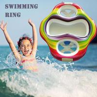 Cute Inflatable Swimming Ring PVC Rainbow Twin Baby Double Inflatable Swim Float Water Fun Pool Toys Swim Ring Seat Boat Water