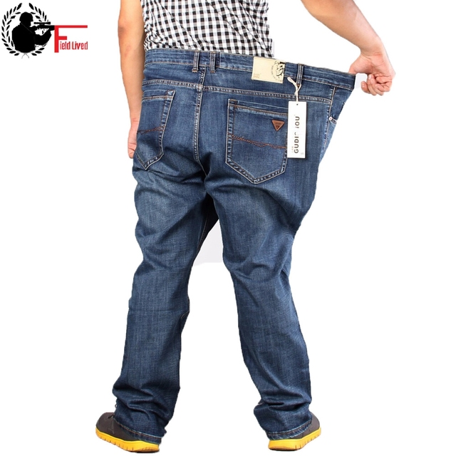 d2de323a72d 2019 Mens Full Length Retro Jeans Pants Men Casual Straight Fitness Denim  Trousers Male Designer Plus Big Size 42 44 46 48 50 52
