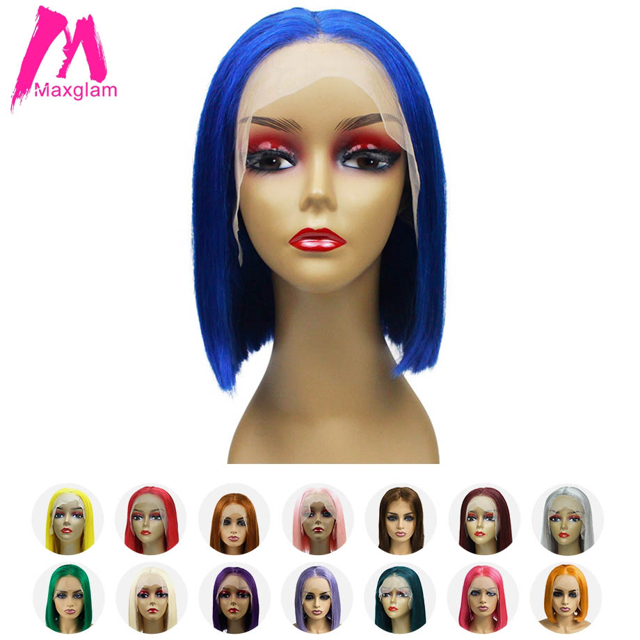 Maxglam Short Lace Front Human Hair Wigs Blonde 613 Bob Lace Front Wig Blue Pink Multiple