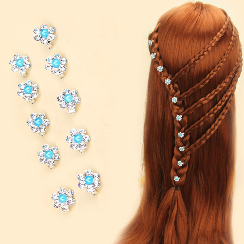 10 шт./лот красочные свадебные заколки для волос с кристаллами, заколки для волос с цветами, украшения для волос, модные ювелирные аксессуары