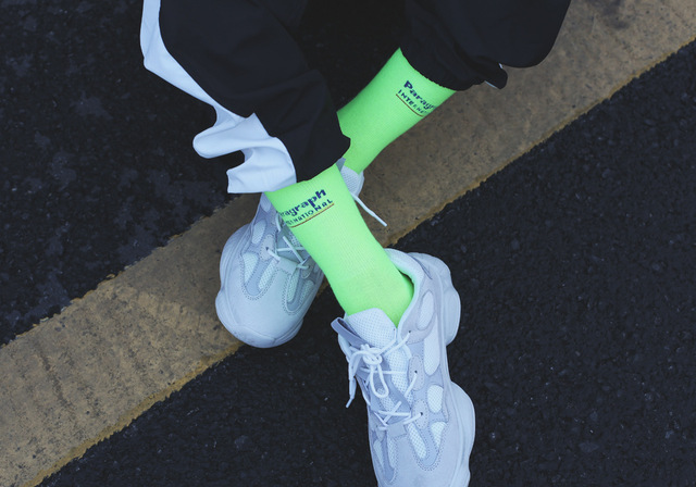 2018 new fluorescent color socks green socks ins Harajuku style men and women in the tube socks street shooting tide socks