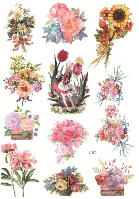 5 Sheets Cute A5 Fresh Spring Flower Garland Animal Paper Sticker