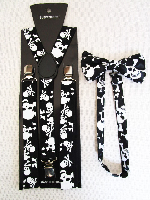 Free Shipping 2018 New Fashion Women Men Unisex  Black Skull Bow Ties And Suspenders Sets