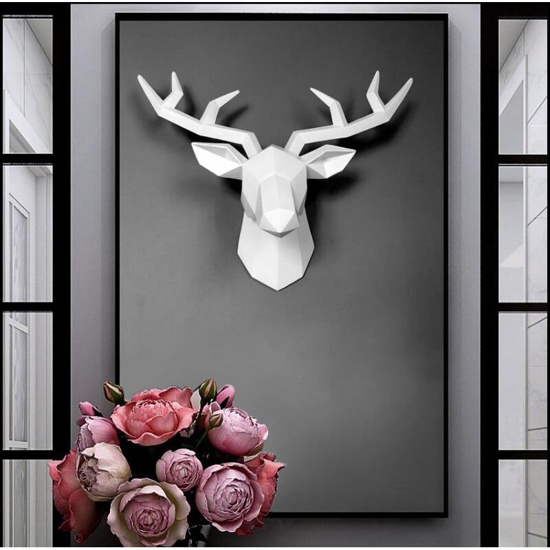 3D Deer Head Sculpture 50x49x20cm Murals Home Wall Hanging Elk Statue Handmade Ornament Artwork Craft Deer