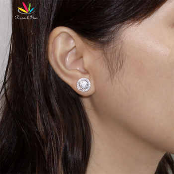 Peacock Star Halo Stud Earrings Solid 925 Sterling Silver 2 Carat Round Cut Bridal Bridesmaid Jewelry CFE8102