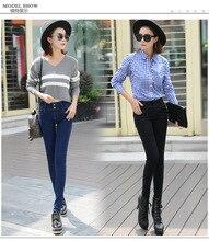 Корея стиль длинные карандаш брюки женские джинсы мода тощий высокой талией кнопка Тонкий Тонкий Был брюки джинсовые