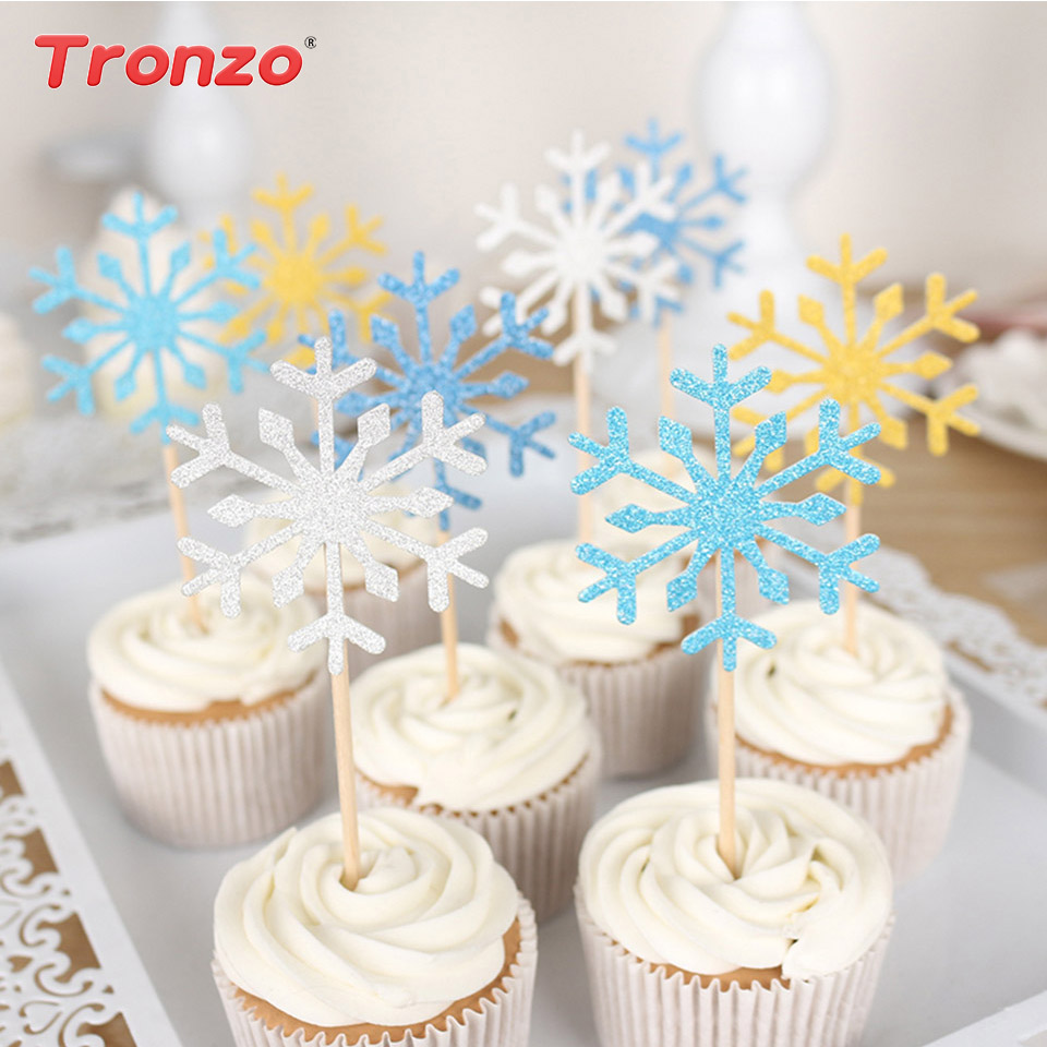 Tronzo 10pcs Frozen Snowflake Cupcake Toppers Brithday Party Decorations  Glitter Snowflask Cake Toppers Baby Shower Kids Favor