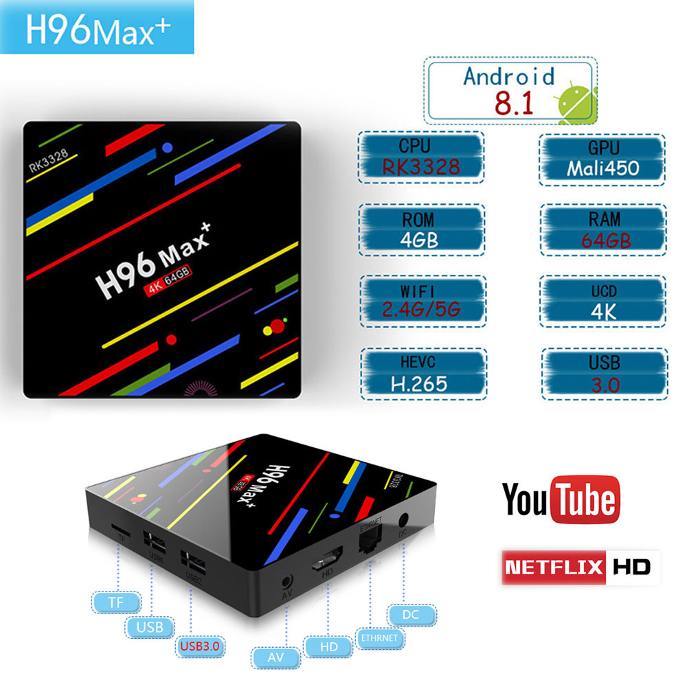H96 Max+ MaX Plus Android 8.1 4G 32G 64G Smart TV Box 4K Ultra HD H.265 Set Top Boxes USB 3.0 Dual Wifi 2.4/5.0G Media PlayerH96 Max+ MaX Plus Android 8.1 4G 32G 64G Smart TV Box 4K Ultra HD H.265 Set Top Boxes USB 3.0 Dual Wifi 2.4/5.0G Media Player