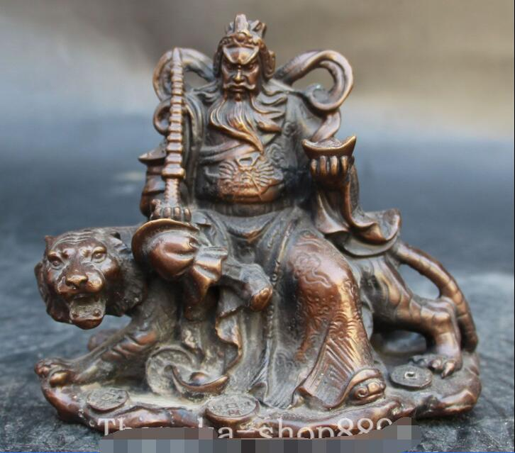 6 Chinese Fengshui Bronze Dragon Pagoda Ride Tiger Money Wealth God Statue6 Chinese Fengshui Bronze Dragon Pagoda Ride Tiger Money Wealth God Statue