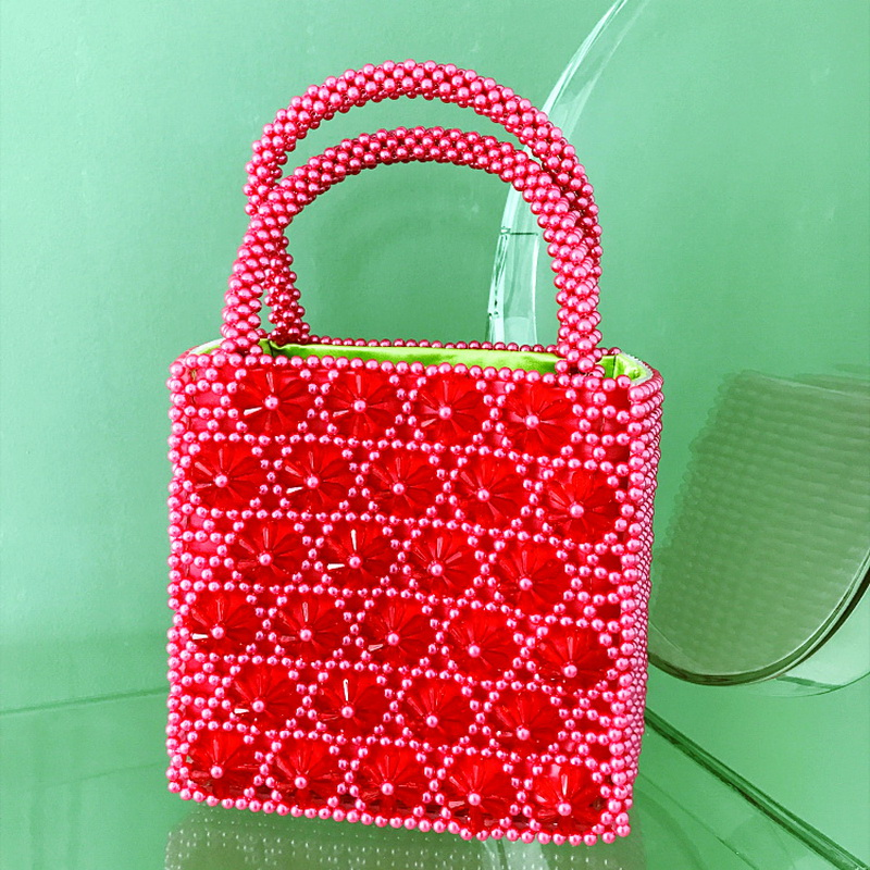 Crystal Flower Pattern Beading Tote For Women Pearl Lady Luxury Design Handbags Fashion Women Evening Bag Red Green Female Purse marulong s0002 women s fashionable flower pattern short sleeved nightdress green multi color
