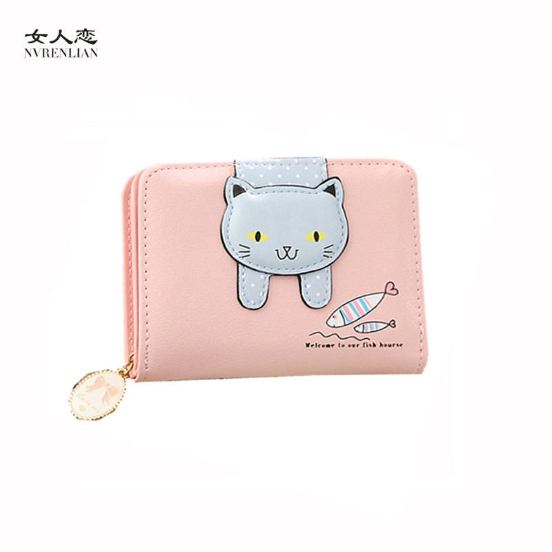 cat women wallets short purses coin card holder cute cartoon small money bags girls high quality fashion designer brand children
