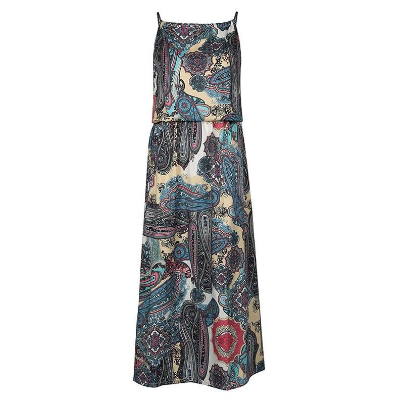 Sishot women boho maxi dresses 2018 spring summer sleeveless geometric elegant ankle length blue floral print bohemia dress