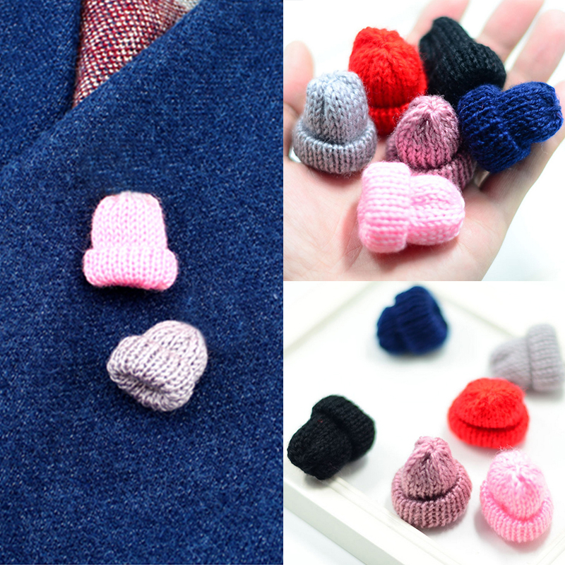 Hot Sale Colorful Cute Mini Woollen Hat Brooch for Women Girls DIY Breastpin Clothes Decoration 6 Colors Fashion Jewelry