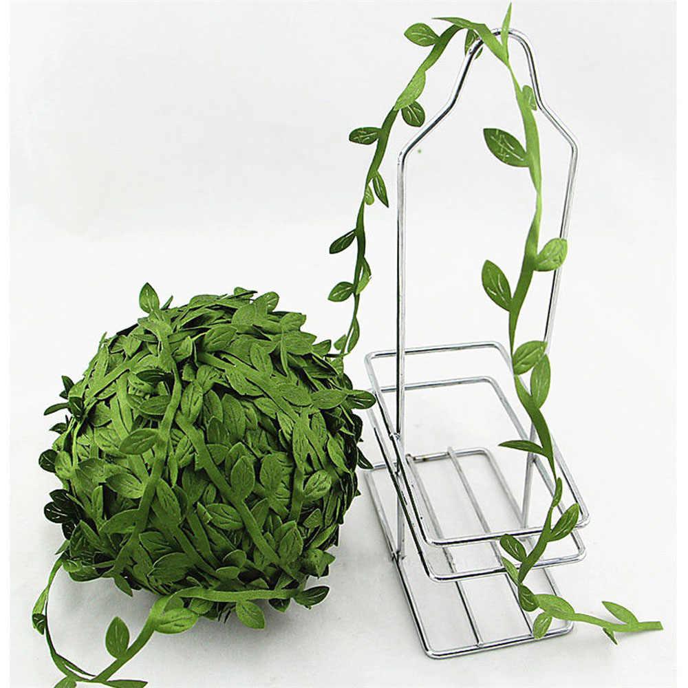 5 เมตรผ้าไหมรูป Handmake ประดิษฐ์สีเขียวสำหรับงานแต่งงานตกแต่ง DIY พวงหรีด Scrapbooking หัตถกรรมดอกไม้ปลอม