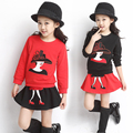 Children's clothing female child autumn set 2016 spring and autumn child long-sleeve sweatshirt short skirt twinset