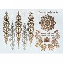 Shellhard Metallic Finger Gold Silver Henna Waterproof Tattoo Stickers  Temporary Leg 7c10bb100965