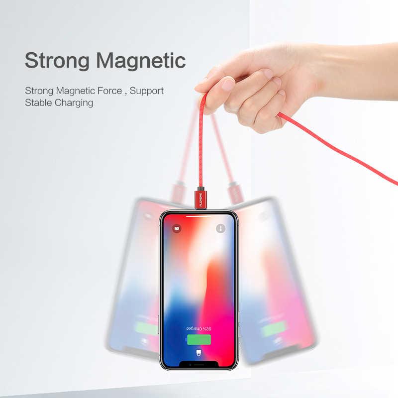 FLOVEME Магнитная Micro USB кабель 2.4A заряд 1 м светодиодный магнит Зарядное устройство кабель для Xiaomi Redmi 4X Huawei P8 Lite Samsung s7 edge s6 С7 эдж плетеный Нейлоновый cabo быстрый зарядный магнитный кабель