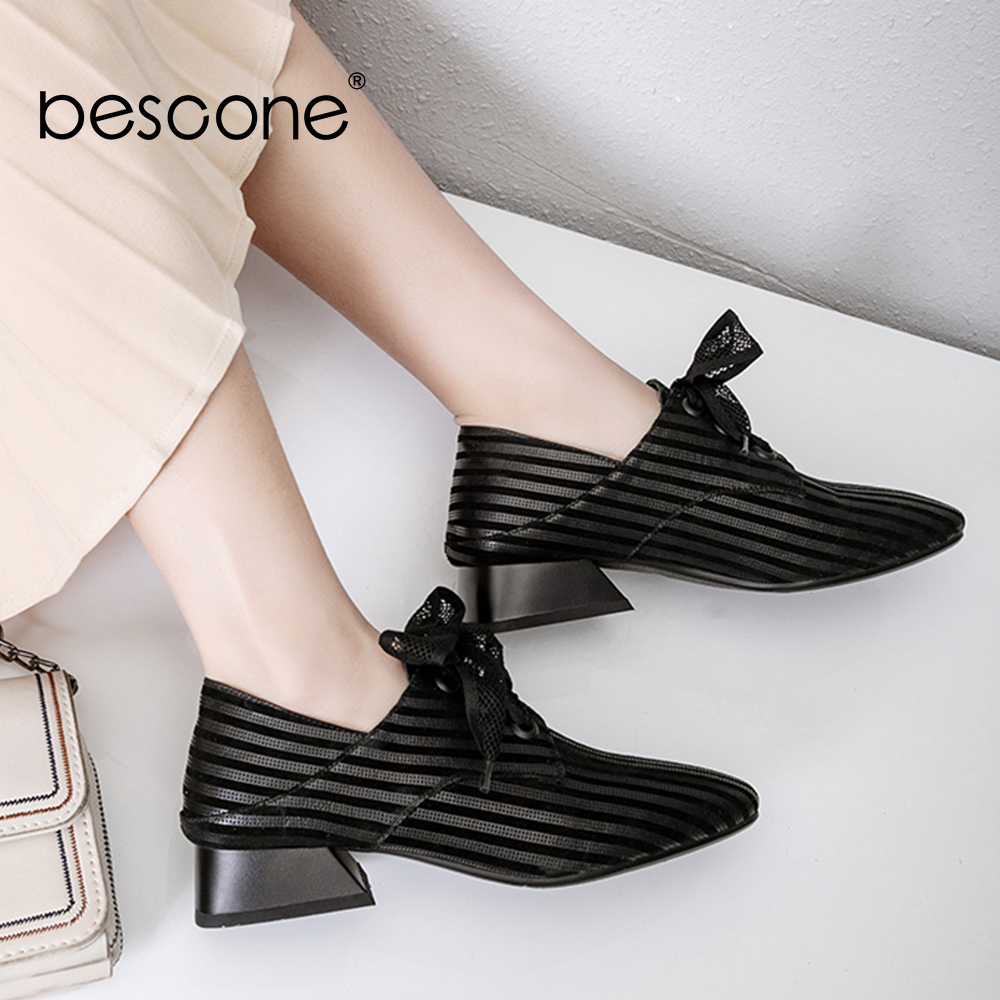 BESCONE Brand Classic Women Pumps Striped Lace Up Square Toe Black Outside Shoes Big Size High Quality Med Heel Lady Pumps BO5-in Women's Pumps from Shoes    1