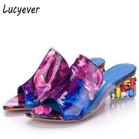 Lucyever Fashion Rhinestone Thick Heels Slipper Sexy Women Peep Toe High Heel Sandals Leisure Party Flip
