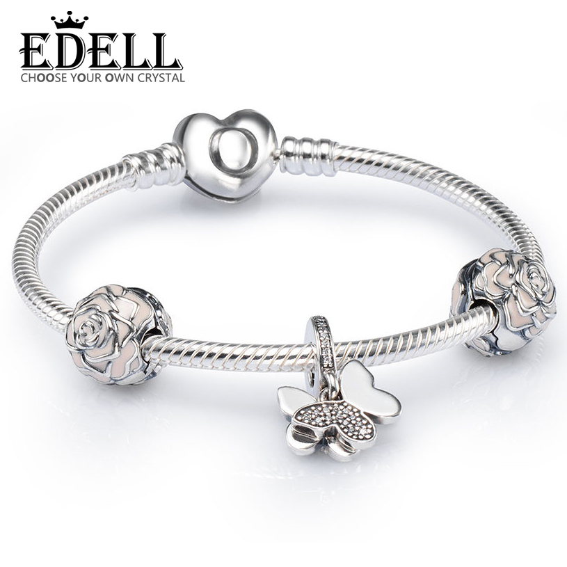 EDELL 100% 925 Brand-new 1:1 Charm Elegant Charming Butterfly and Rose Bracelet Set Factory Direct Fit DIY GiftEDELL 100% 925 Brand-new 1:1 Charm Elegant Charming Butterfly and Rose Bracelet Set Factory Direct Fit DIY Gift